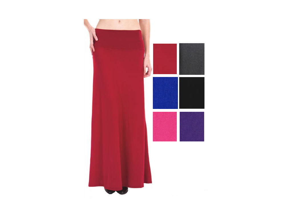 Wholesale Bulk Pack Solid Maxi Skirt GD3290-1-GDP4229