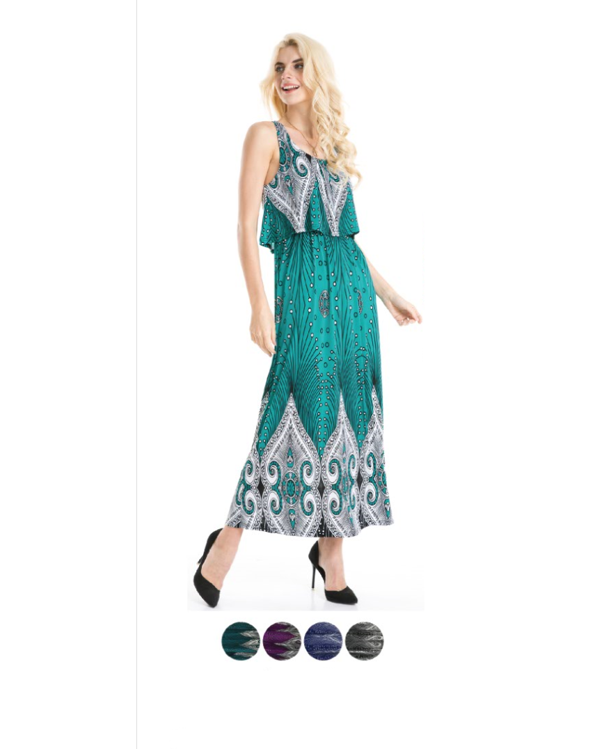 Wholesale Bulk Pack Popover Style printed Maxi Dress-GDP4318