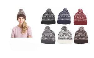 Wholesale Bulk Pack Knit Hats With Sherpa Lining And Pom Pom-GDP4020
