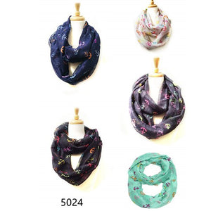 Wholesale Bulk Pack Wholesale Lots 12Pc Assorted Color Women's Anchors Printed Infinity Scarf GD5024
