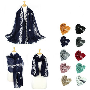 Wholesale Bulk Pack Pack-12 Fashion Embroidery Soft Lightweight Scarves GD5075TR