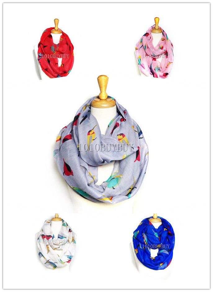 Wholesale Bulk Pack Lots 12Pc Assorted Color Women's Birds Printed Infinity Scarf GD6024
