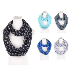 Wholesale Bulk Pack Lots 12Pc Assorted Color Women's Night Owl Infinity Scarf GD6025