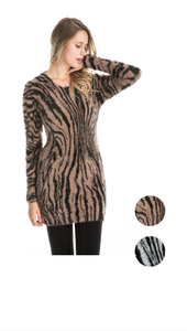 Wholesale Bulk Pack 2 Tone Long Sleeve Sweater Dress-GDP4173