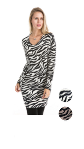 Wholesale Bulk Pack 2 Tone Long Sleeve Sweater Dress-GDP4171