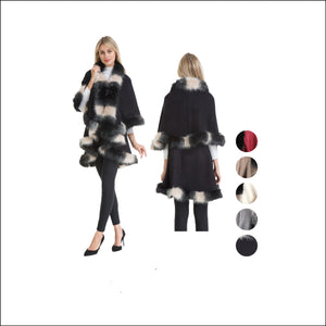 Wholesale Bulk Pack Poncho with Fur Trim-GDP4292