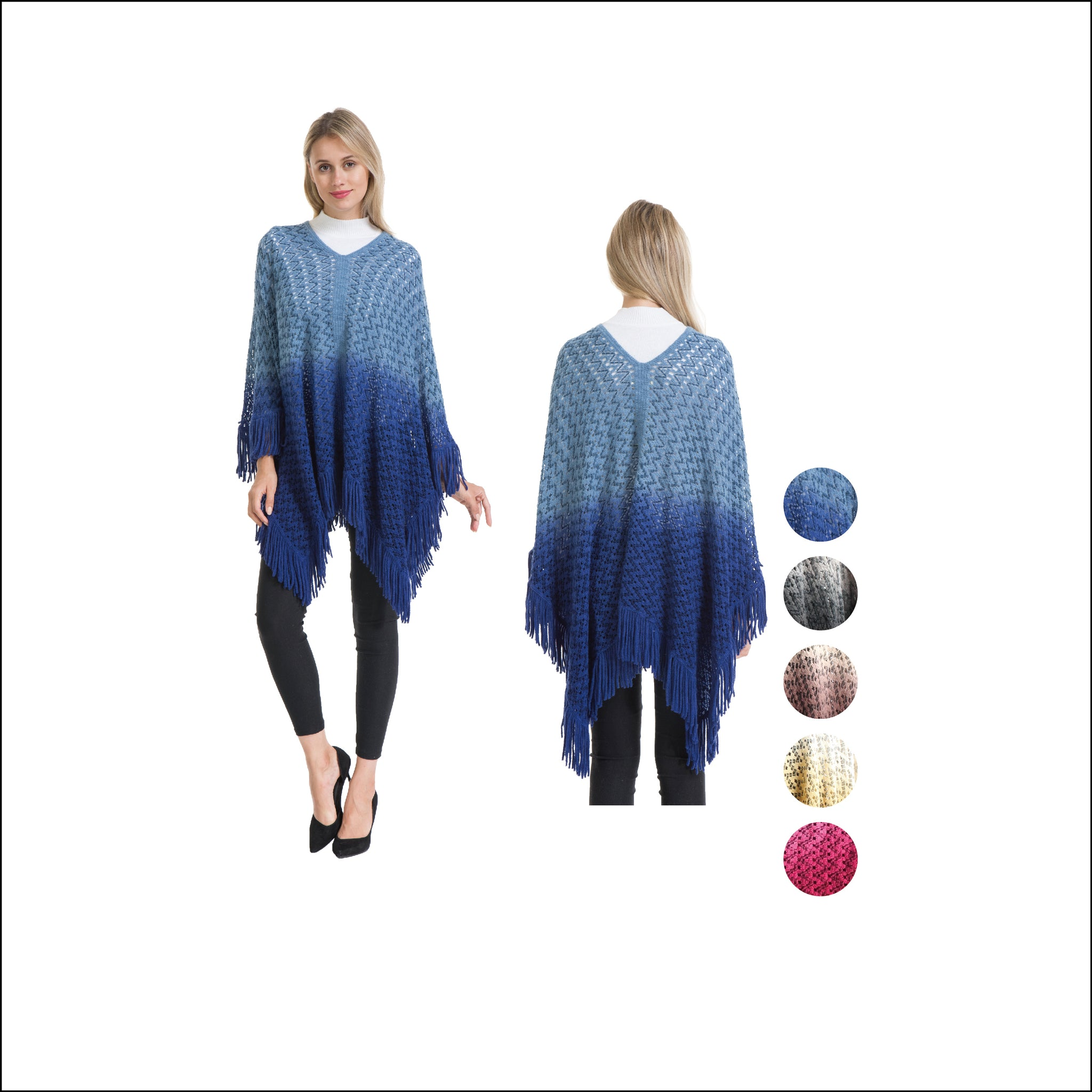 Wholesale Bulk Pack Tie Dye Poncho-GDP4282