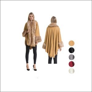Wholesale Bulk Pack Poncho with Fur Hood & Fur Cuff-GDP4274