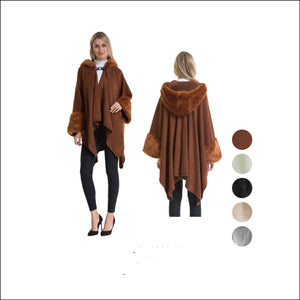Wholesale Bulk Pack Poncho with Fur Hood & Fur Cuff-GDP4272