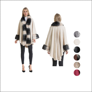 Wholesale Bulk Pack Poncho with Heavy 3 Tone Fur Around Long Collar & Cuff-GDP4268