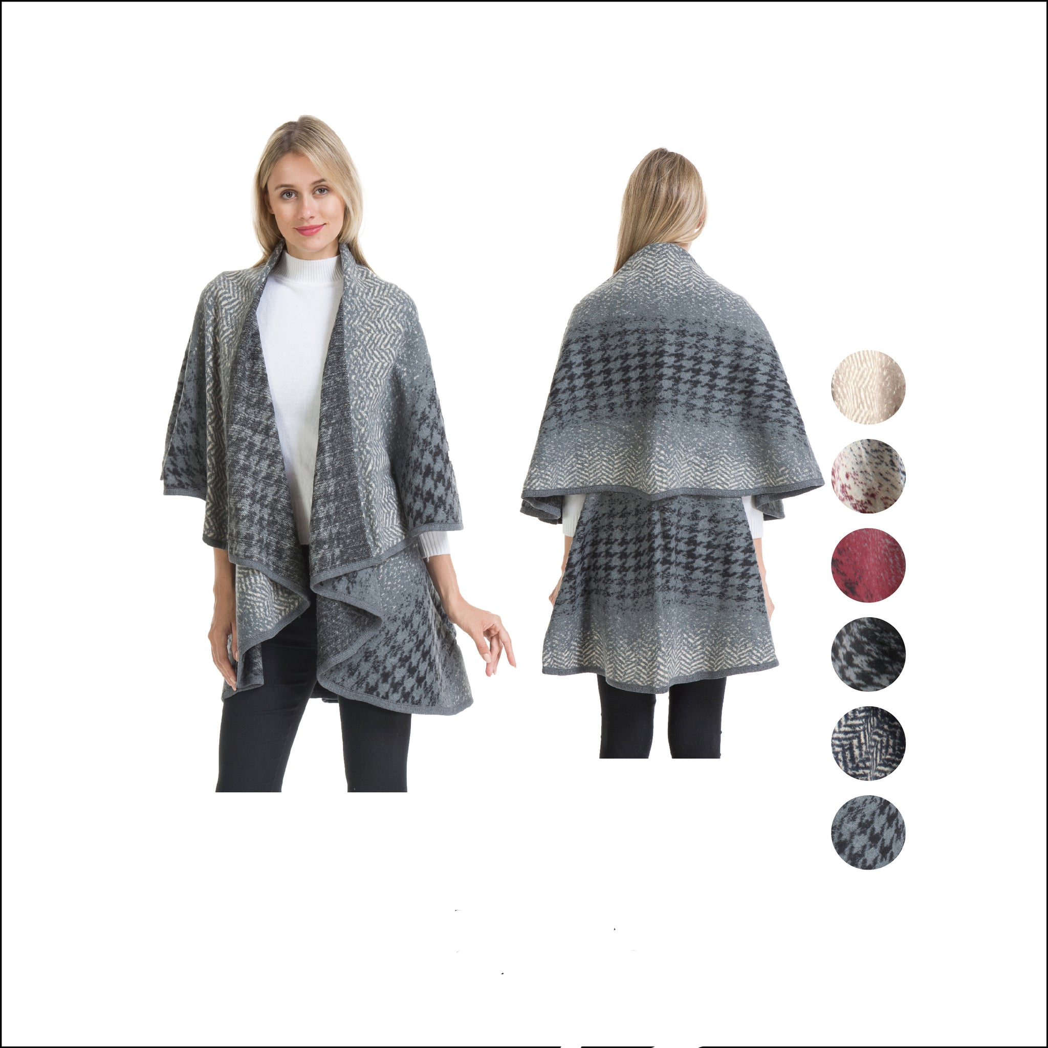 Wholesale Bulk Pack Double Layer Poncho Cape-Thick-Houndstooth/ZigZag-GDP4258