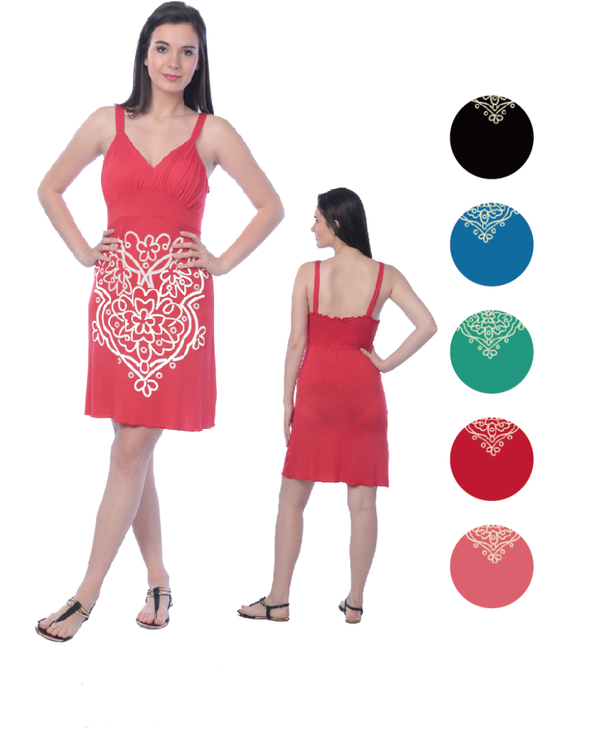 Wholesale Bulk Pack Viscose Short Dress with Puff prints-GDP4412