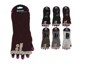 Wholesale Bulk Pack Fashion Fingerless Cotton Lace Gloves-GDP4069