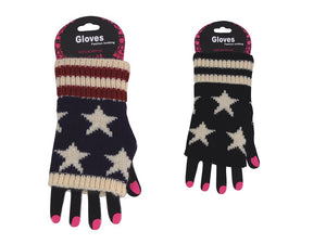 Wholesale Bulk Pack Fashion Fingerless Star Print Cotton Gloves-GDP4066