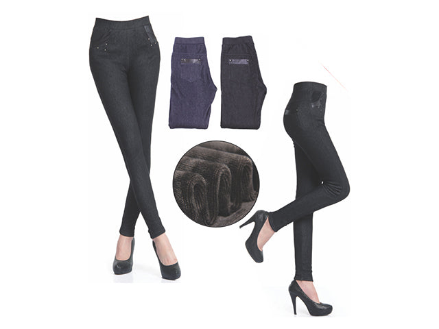 Wholesale Bulk Pack Women's Thick Faux Fur Lined Leggings-GDP4223
