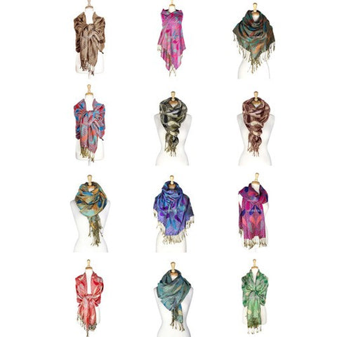Wholesale Bulk Pack Pashmina 12-pack Assorted Colors-GDP1543