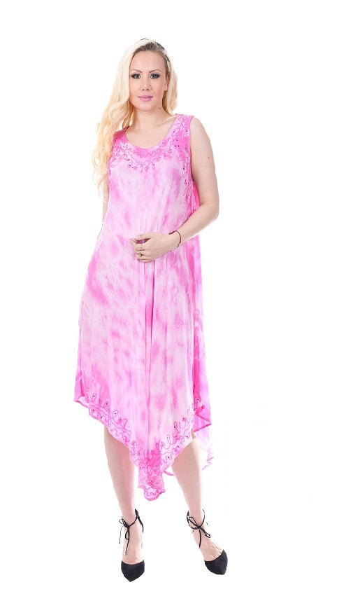 Wholesale Bulk Pack Rayon Tie Dye Dress Assored Colors-GDP4556