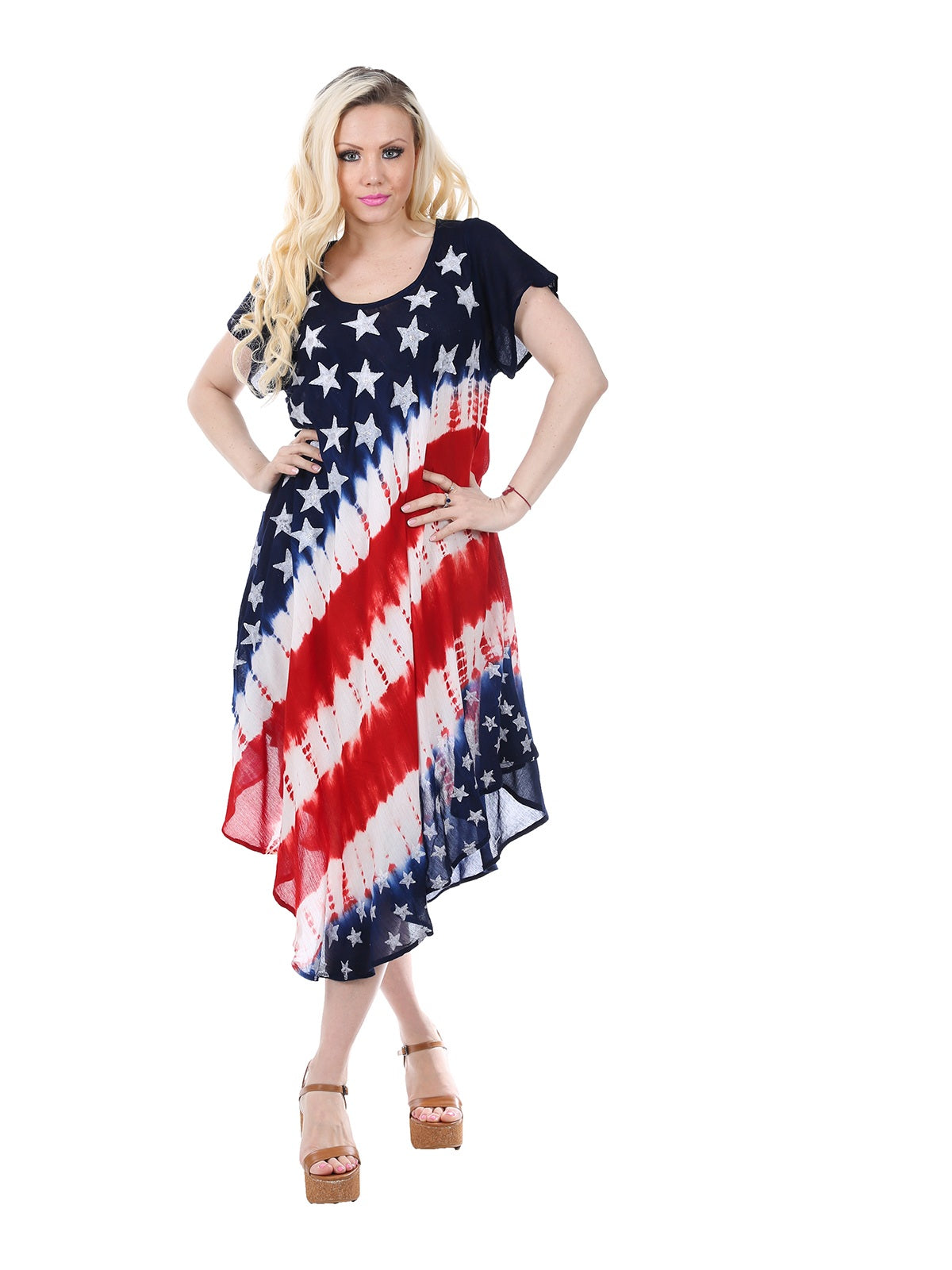 Wholesale Bulk Pack Rayon Short Sleeve Dress- Flag Pattern-GDP4502