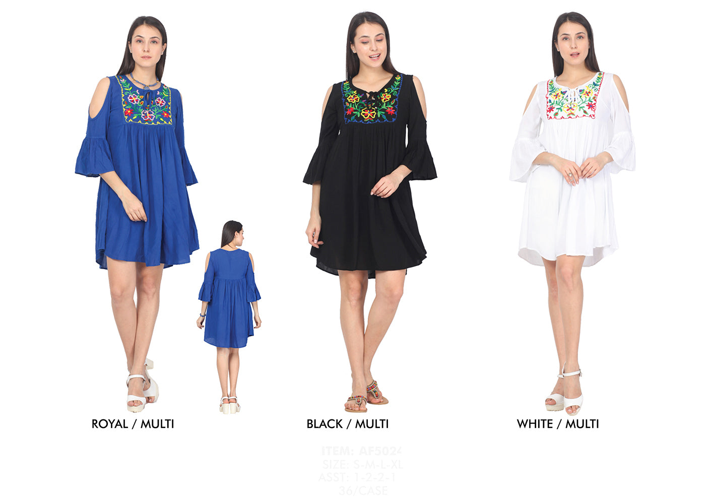 Wholesale Bulk Pack Rayon Dress-3Q Sleeve Cold Shoulder with Heavy Embd.-GDP4386