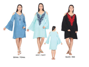 Wholesale Bulk Pack Rayon Dress 3/4 Sleeve Cold Shoulder with Heavy Embd.-GDP4384