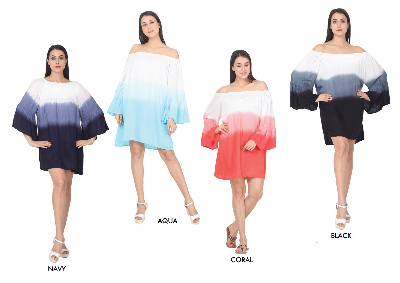 Wholesale Bulk Pack Rayon Off Shoulder Bell Sleeve Dress-GDP4426