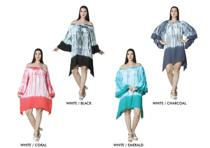 Wholesale Bulk Pack Rayon Off Shoulder Bell Sleeve Dress-Shark Bite-GDP4430