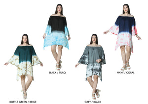 Wholesale Bulk Pack Rayon Off Shoulder Bell Sleeve Dress-Shark Bite-GDP4316