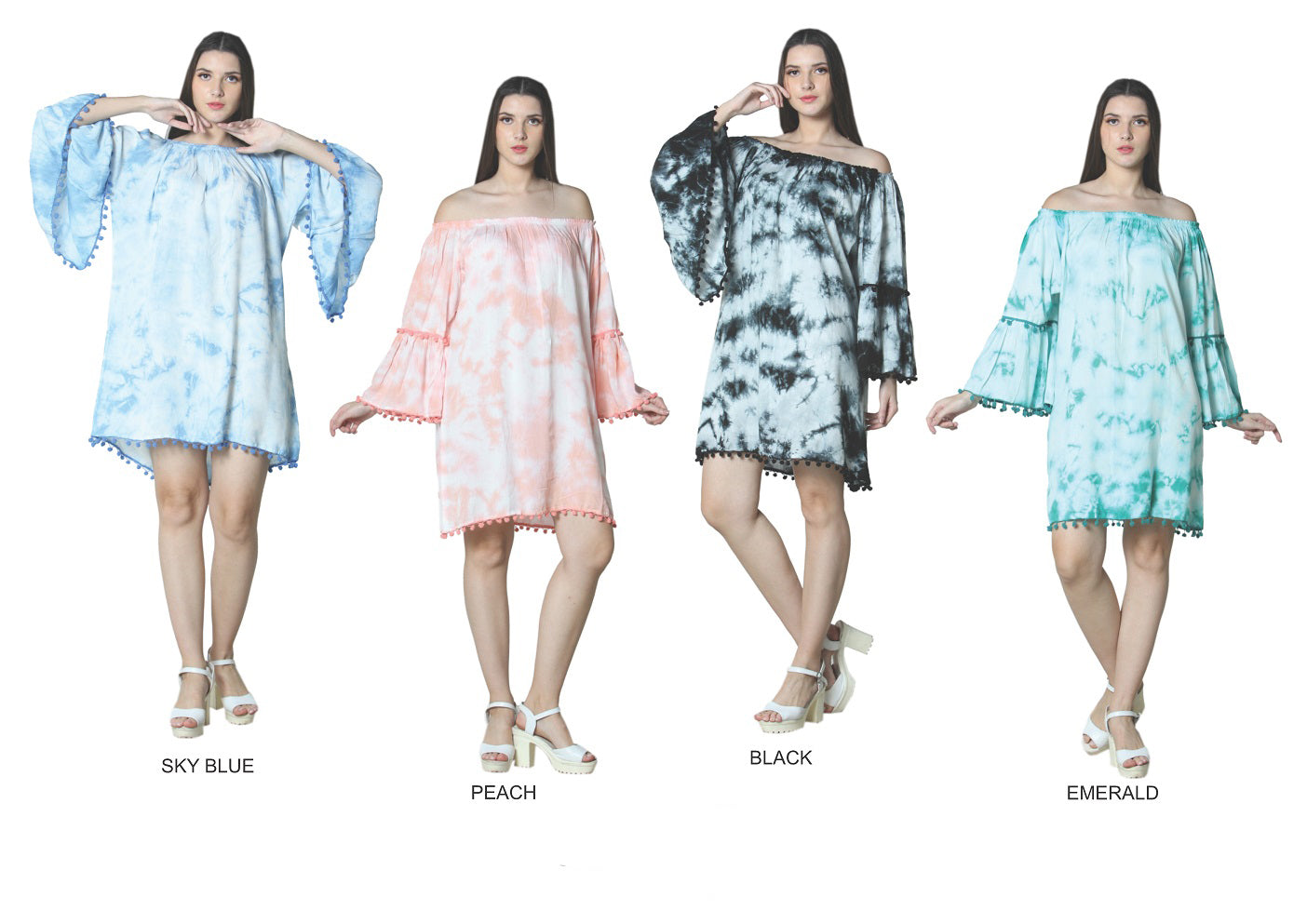 Wholesale Bulk Pack Rayon OTS 3/4 Bell Sleeve Dress with Pom Pom-GDP4358