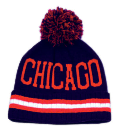 Wholesale Bulk Pack Pompolm Beanie Hats/Chicago Navy-GDP2792