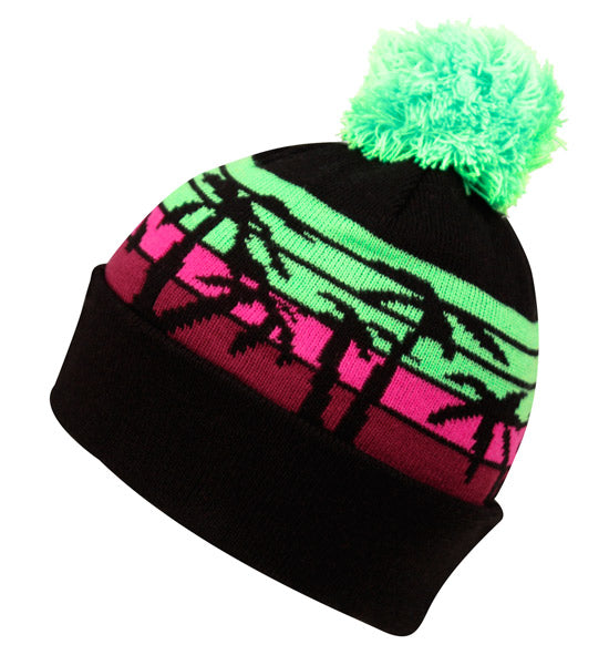 Wholesale Bulk Pack Knit Tropical Beanie Hat W/Pom Pom-GDP2764
