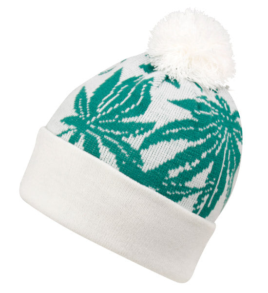 Wholesale Bulk Pack Leaf Knit Beanie Hats With Pom-GDP2731