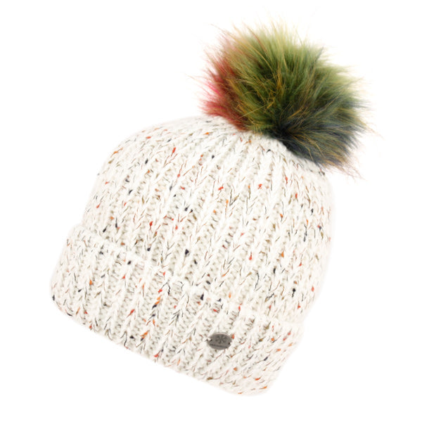 Wholesale Bulk Pack Cable Knit Beanie With Multi Color Pom Pom & Sherpa Lining-GDP2849