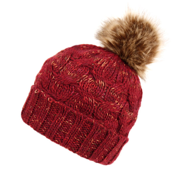 Wholesale Bulk Pack Multi Color Thick Cable Knit Beanie W/Pom Pom & Sherpa Fleece-GDP2803