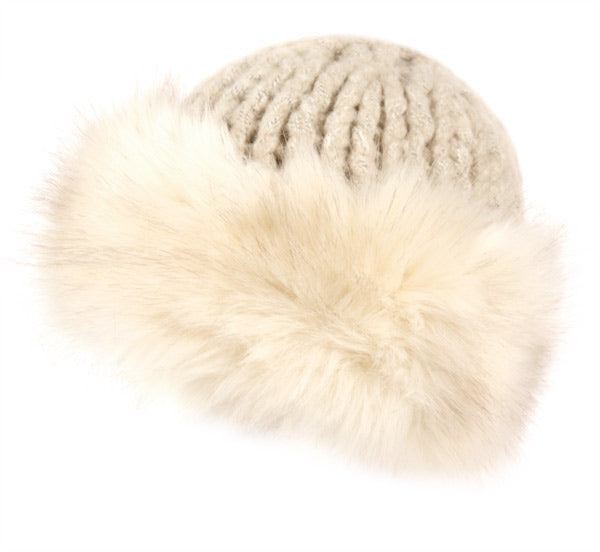 Wholesale Bulk Pack Heavy Knit Beanie With Faux Fur Roll Up Cuff-GDP2835