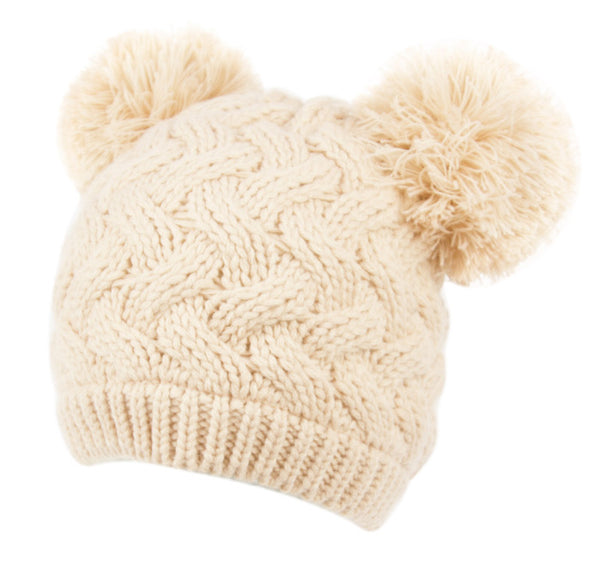 Wholesale Bulk Pack Chunky Cable Knit Beanie W/Double Pom Pom-GDP3032