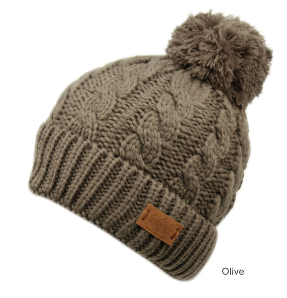 Wholesale Bulk Pack Heavy Knit Beanie With Pom Pom & Sherpa Lining-GDP3039