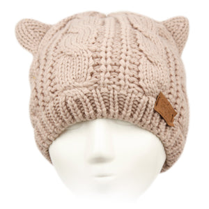 Wholesale Bulk Pack Cat Ear Cable Knit Beanie W/Sherpa Lining-GDP3022