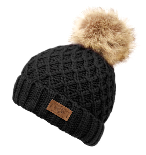 Wholesale Bulk Pack Criss Cross Pattern Pom Pom Knit Beanie W/Sherpa Lining-GDP3005