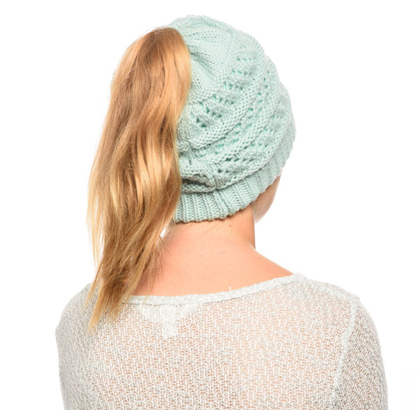 Wholesale Bulk Pack Messy Bun Ponytail Crochet Beanie W/Double Layer Lining-GDP3056