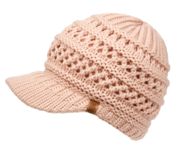 Wholesale Bulk Pack Messy Bun Crochet Beanie Visor W/Double Layer Lining-GDP2995
