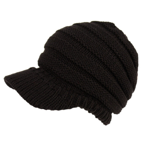 Wholesale Bulk Pack Ribbed Cable Knit Beanie W/Visor Brim-GDP2779