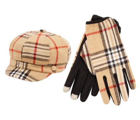 Wholesale Bulk Pack Plaid Cabbie Hat & Glove Set-GDP2148