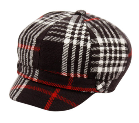 Wholesale Bulk Pack Plaid Cabbie Hat W/Satin Lining-GDP2063