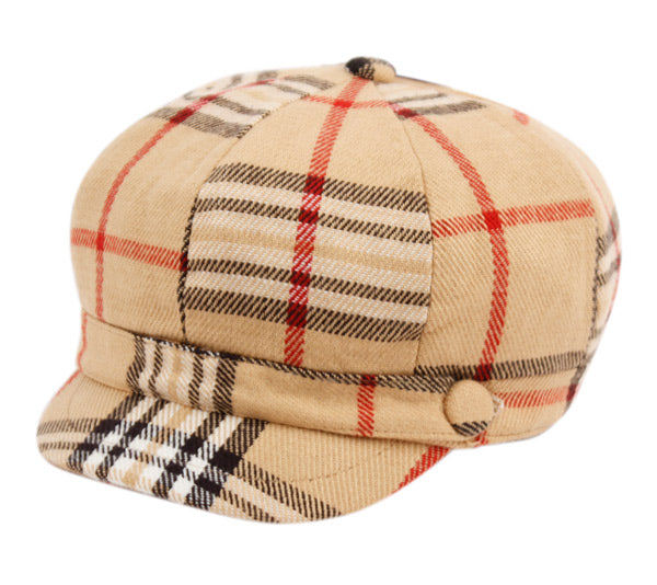 Wholesale Bulk Pack Plaid Cabbie Hats W/Satin Lining Khaki-GDP2072
