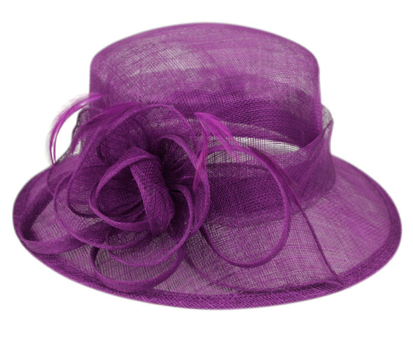 Wholesale Bulk Pack Sinamay Fascinator With Flower & Feather Trim-GDP1146