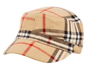 Wholesale Bulk Pack Plaid Fashion Cadet Hats W/Satin Lining-GDP2210