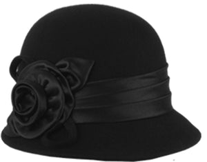 Wholesale Bulk Pack Wool Felt Cloche Hat With Flower-GDP1323