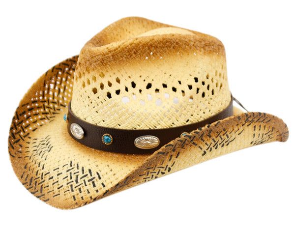 Wholesale Bulk Pack Fashion Cowboy Hats W/Trim Band & Studs GDCOW2726