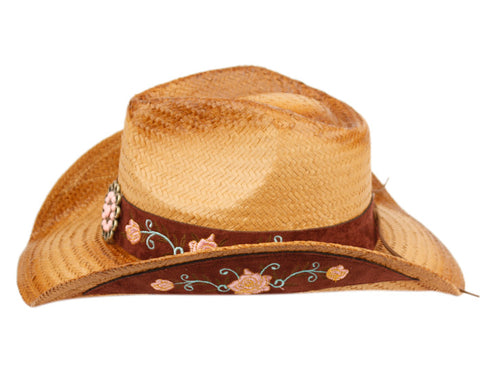 Wholesale Bulk Pack Fashion Cowboy Hats With Floral Trim Band GDCOW4037