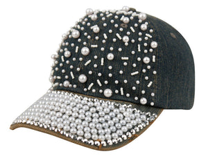 Wholesale Bulk Pack Denim Baseball Cap With Pearl-GDP2331